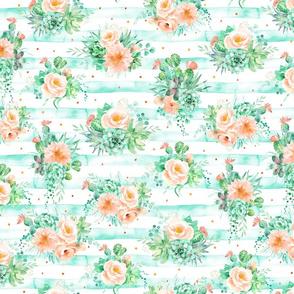 Watercolor peach roses, mint succulents