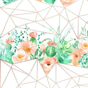 Watercolor peach mint cacti and roses