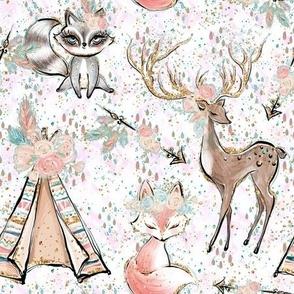 Forest friends confetti on white