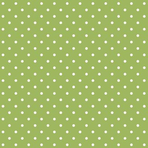 Green and White Small Polka Dot Print
