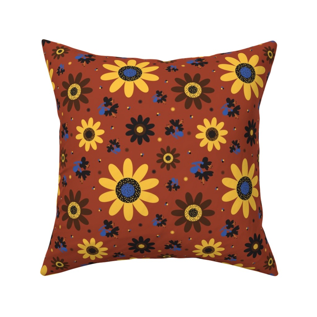 Catalan Throw Pillow featuring Retro Fall 60's Sunflower Floral by elliottdesignfactory