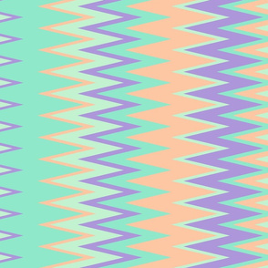 sun bleached beach color chevron zigzag stripes in teal orange green and purple