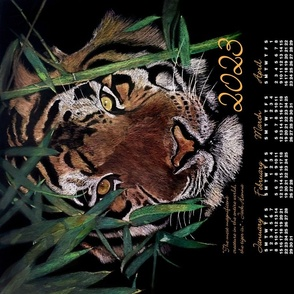 2020 Tiger Calendar for Linen Cotton Canvas