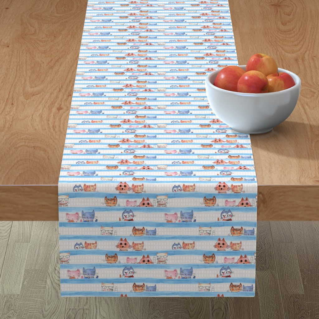 Minorca Table Runner featuring Aristo Cats with Blue watercolor stripe by mimipinto