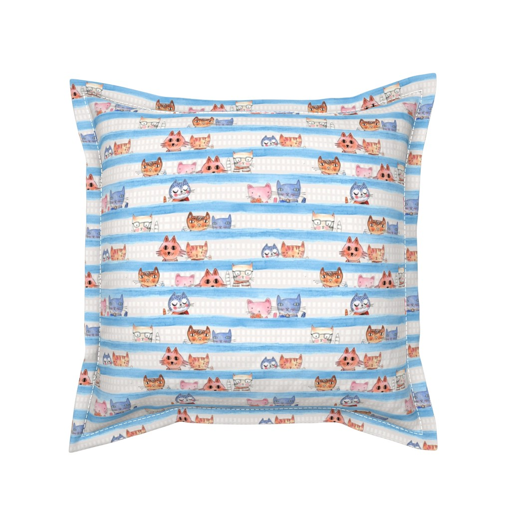 Serama Throw Pillow featuring Aristo Cats with Blue watercolor stripe by mimipinto