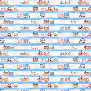 Aristo Cats with Blue watercolor stripe