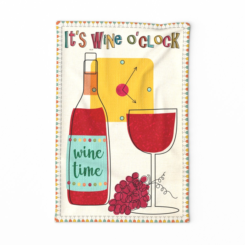 Special Edition Spoonflower Tea Towel featuring It's Wine O'clock! by vo_aka_virginiao