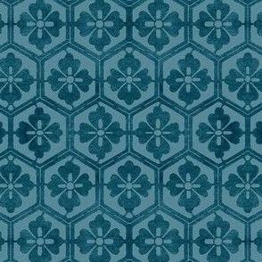 Japanese Hexagonal Stencil-1 fabric marine-blue