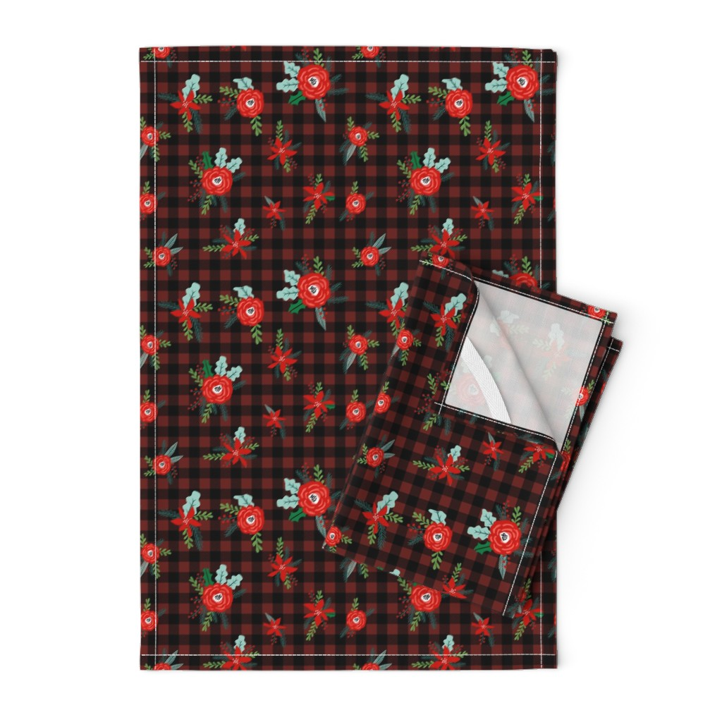 Orpington Tea Towels featuring buffalo plaid floral fabric // christmas fabric, xmas fabric by the yard, holiday fabric by the yard, check by charlottewinter