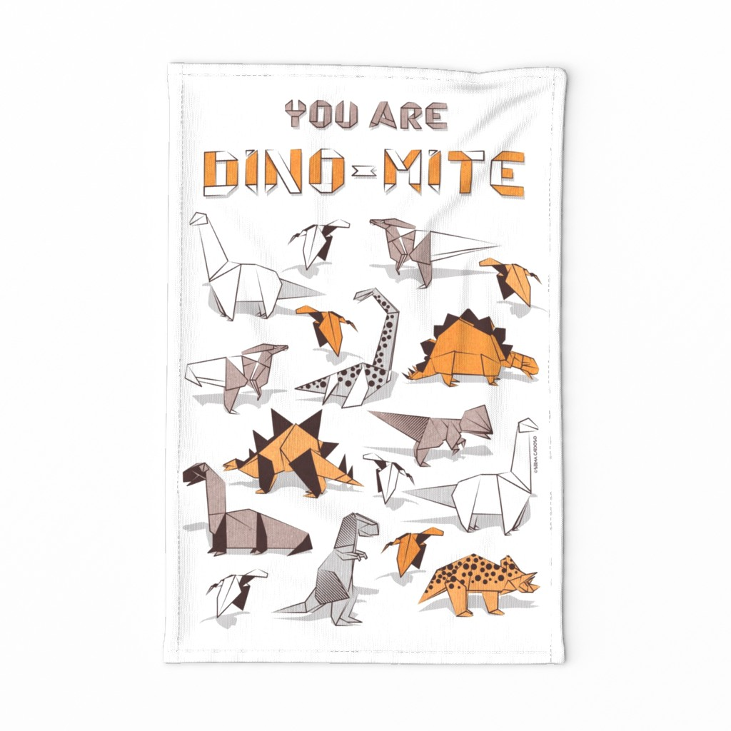 Special Edition Spoonflower Tea Towel featuring You are dino-mite punderful quote TEA TOWEL // white background paper orange grey and white origami dinosaurs  by selmacardoso