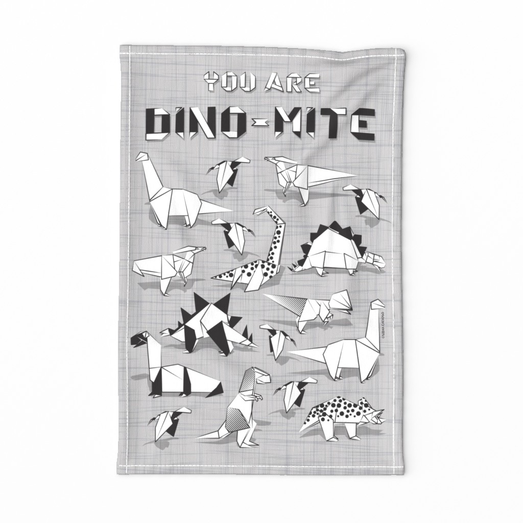 Special Edition Spoonflower Tea Towel featuring You are dino-mite punderful quote TEA TOWEL // grey linen texture background black and white paper origami dinosaurs  by selmacardoso