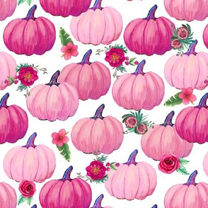 Pink Pumpkins and flowers,  pink Thanksgiving