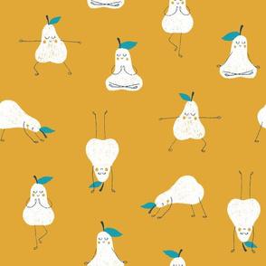 Yoga pears in yellow ochre