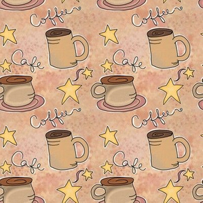 Fall Project 790.3 | Coffee and Stars on Creamy Latte Watercolor Background