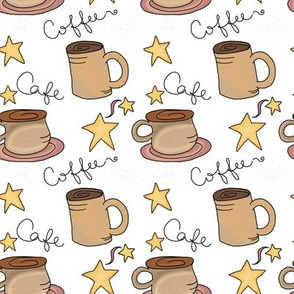 Fall Coffee and Stars on White