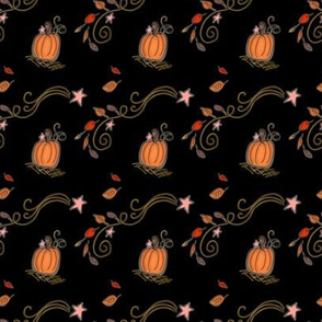 Fall Project 788.3 | Pumpkins and Stars on Black (smaller repeat)