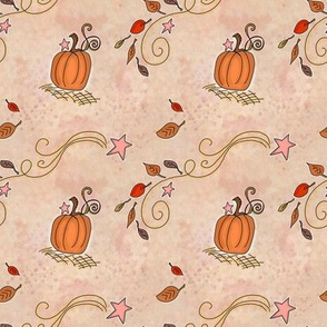 Fall Project 788.1 | Pumpkins and Stars on Creamy Pink Watercolor Background
