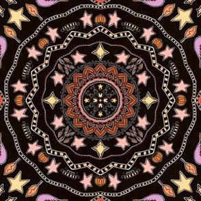 Fall Pumpkins and Stars Mandala on Black