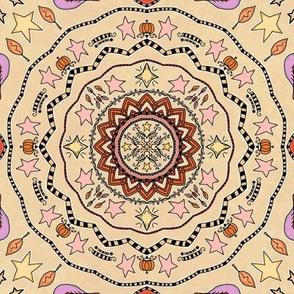 Fall Autumn Pumpkin & Stars Mandala on Cream