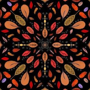 Fall Autumn Leaves on Black Mandala