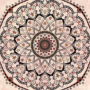 Fall Project 82.8 | Autumn Star Mandala on Pale Pink Cream