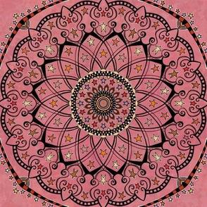 Fall Autumn Star Mandala on Pink