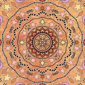 Fall Project 83.1 | Autumn Pumpkin and Stars Mandala on Golden Orange Watercolor Background