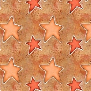 Orange and Pink Fall Stars on Light Brown