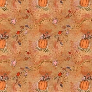 Fall Pumpkins and Stars on Light Brown Watercolor