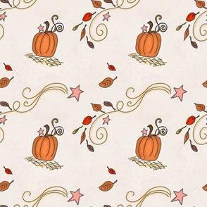 Fall Pumpkins and Stars on Light Cream Tan