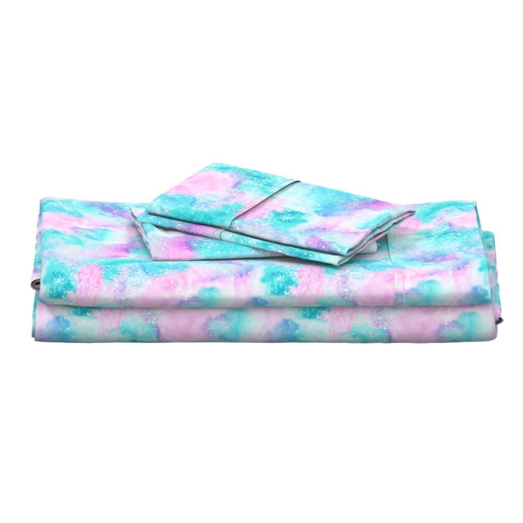 Langshan Full Bed Set featuring Watercolour #2 - pink and aqua by emeryallardsmith