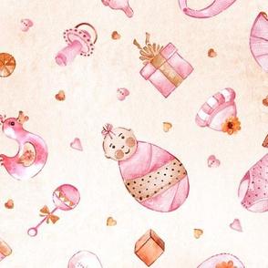 Watercolor baby girl pattern