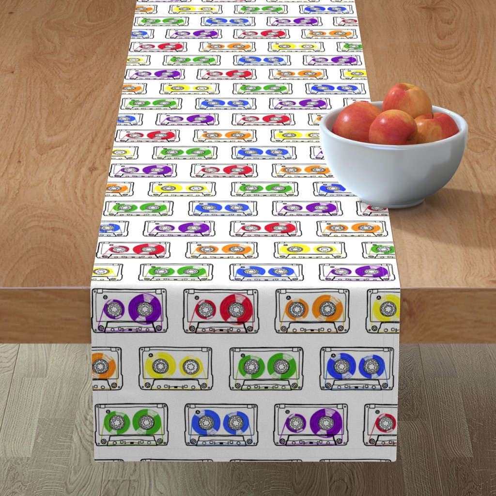 Minorca Table Runner featuring Doodle Tapes - Rainbow by autumn_musick