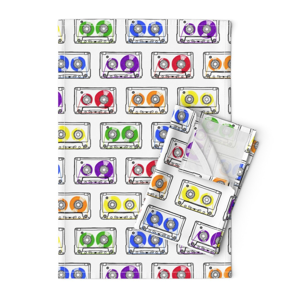 Orpington Tea Towels featuring Doodle Tapes - Rainbow by autumn_musick