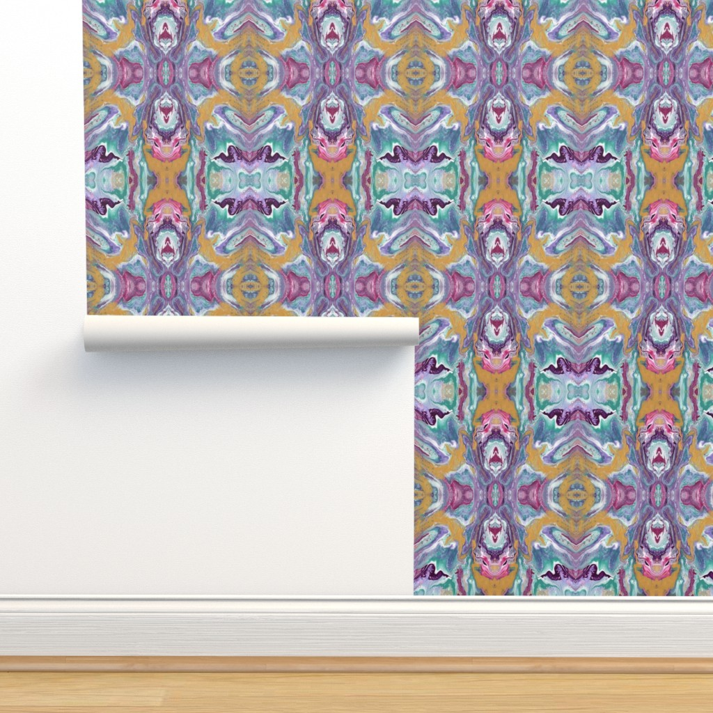 Isobar Durable Wallpaper featuring Painted Batik Purple Aqua Gold Pink - Smaller Vertical by ripdntorn