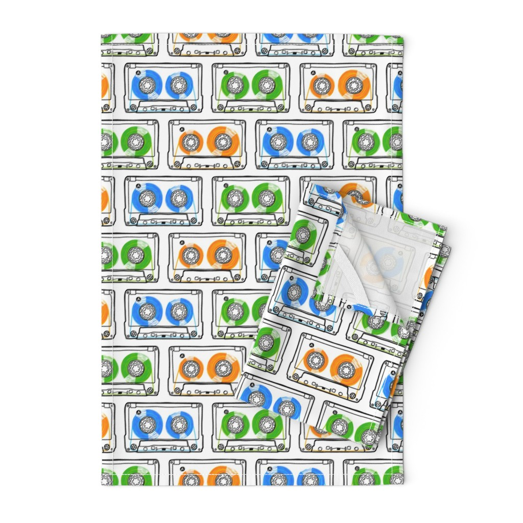 Orpington Tea Towels featuring Doodle Tapes - Green, Orange, Blue by autumn_musick