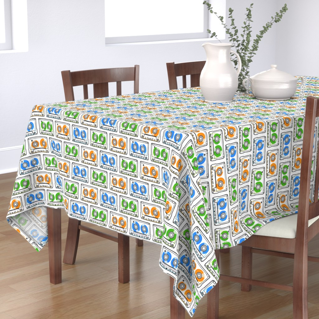 Bantam Rectangular Tablecloth featuring Doodle Tapes - Green, Orange, Blue by autumn_musick