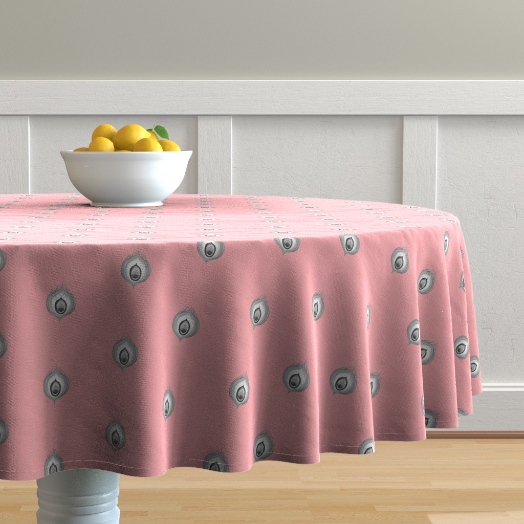 Malay Round Tablecloth featuring Peacock4.design1.pink by damiana_