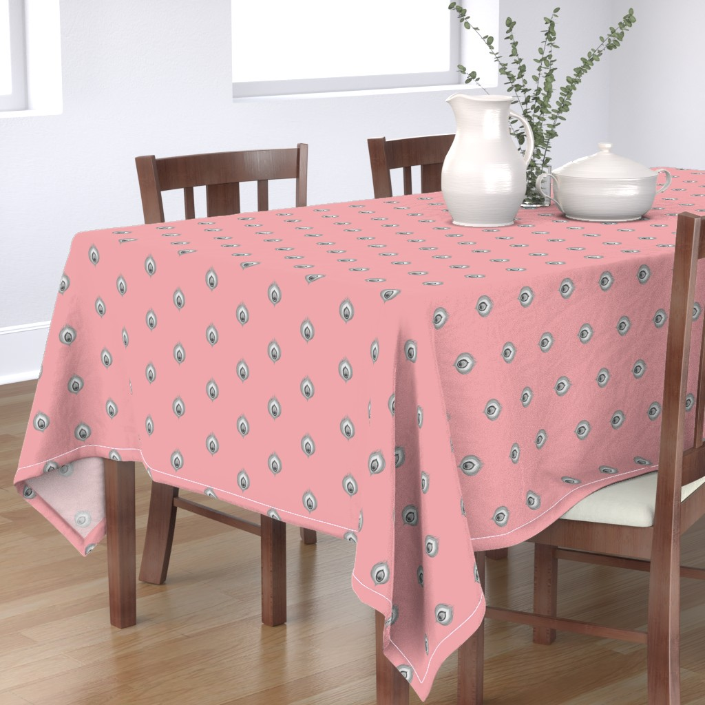 Bantam Rectangular Tablecloth featuring Peacock4.design1.pink by damiana_