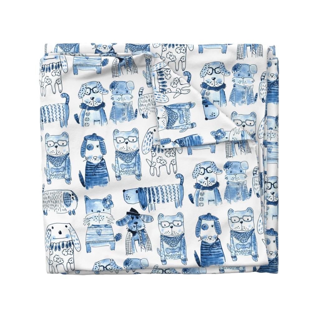 Wyandotte Duvet Cover featuring DOG and doggies in monochrome hand drawn illustrations in Jazz blues by mimipinto