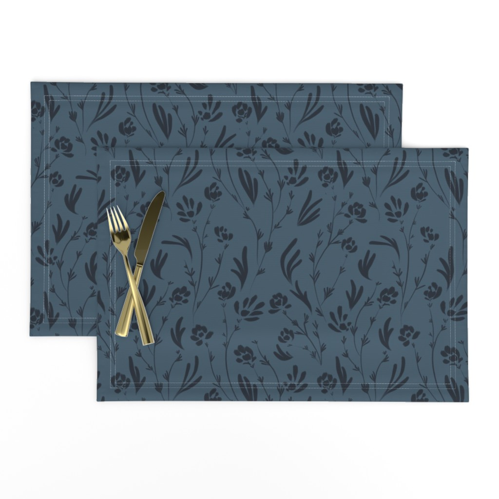 Lamona Cloth Placemats featuring Wild Cosmos, Deep Denim Blue by karina_love