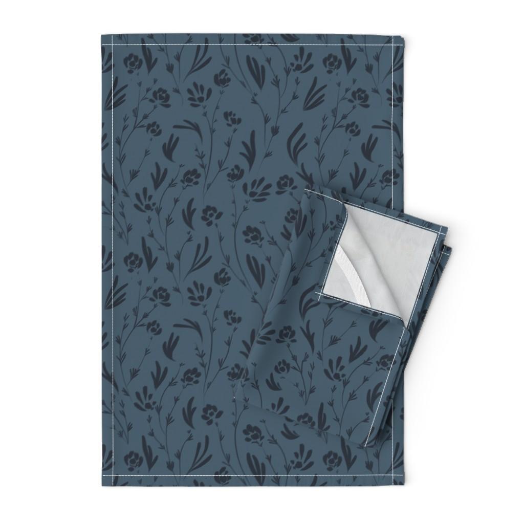 Orpington Tea Towels featuring Wild Cosmos, Deep Denim Blue by karina_love