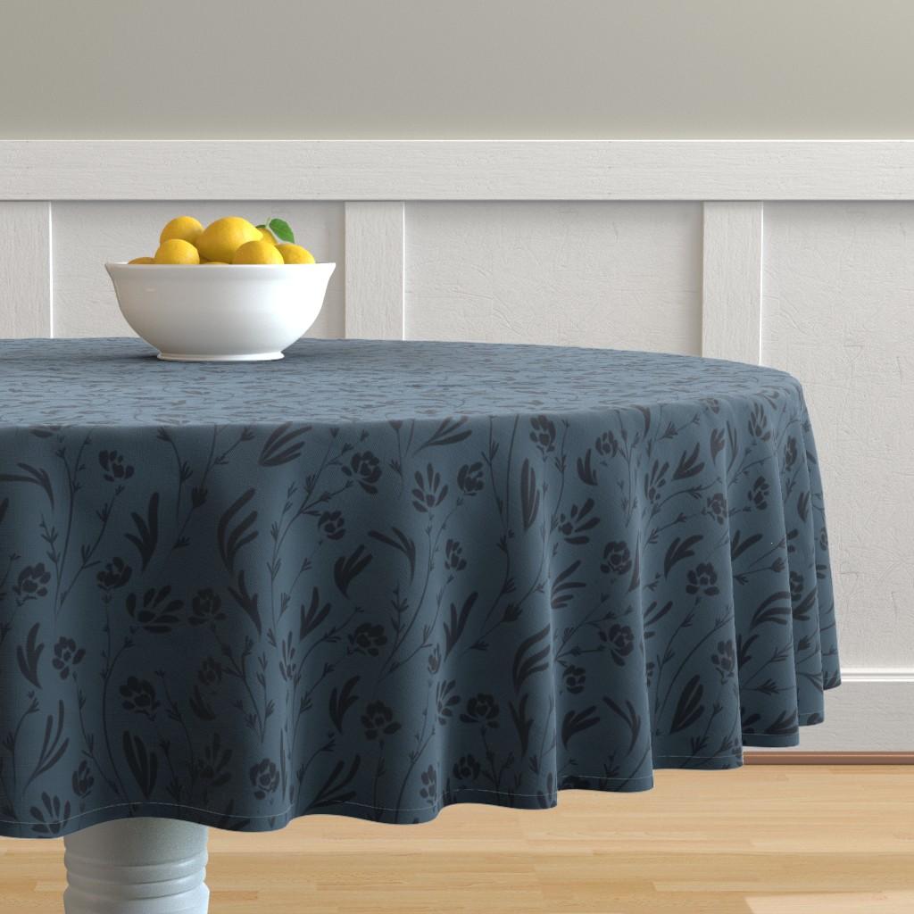 Malay Round Tablecloth featuring Wild Cosmos, Deep Denim Blue by karina_love