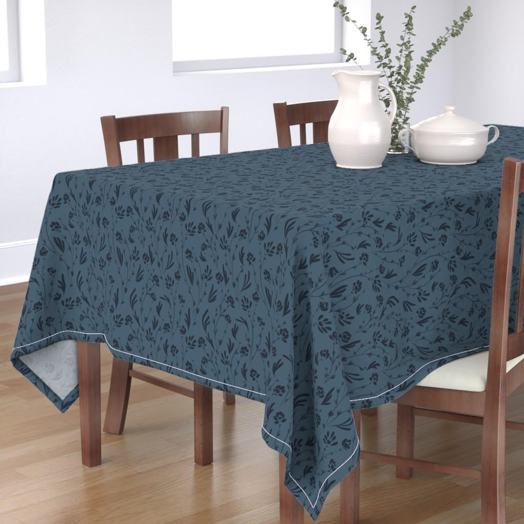Bantam Rectangular Tablecloth featuring Wild Cosmos, Deep Denim Blue by karina_love