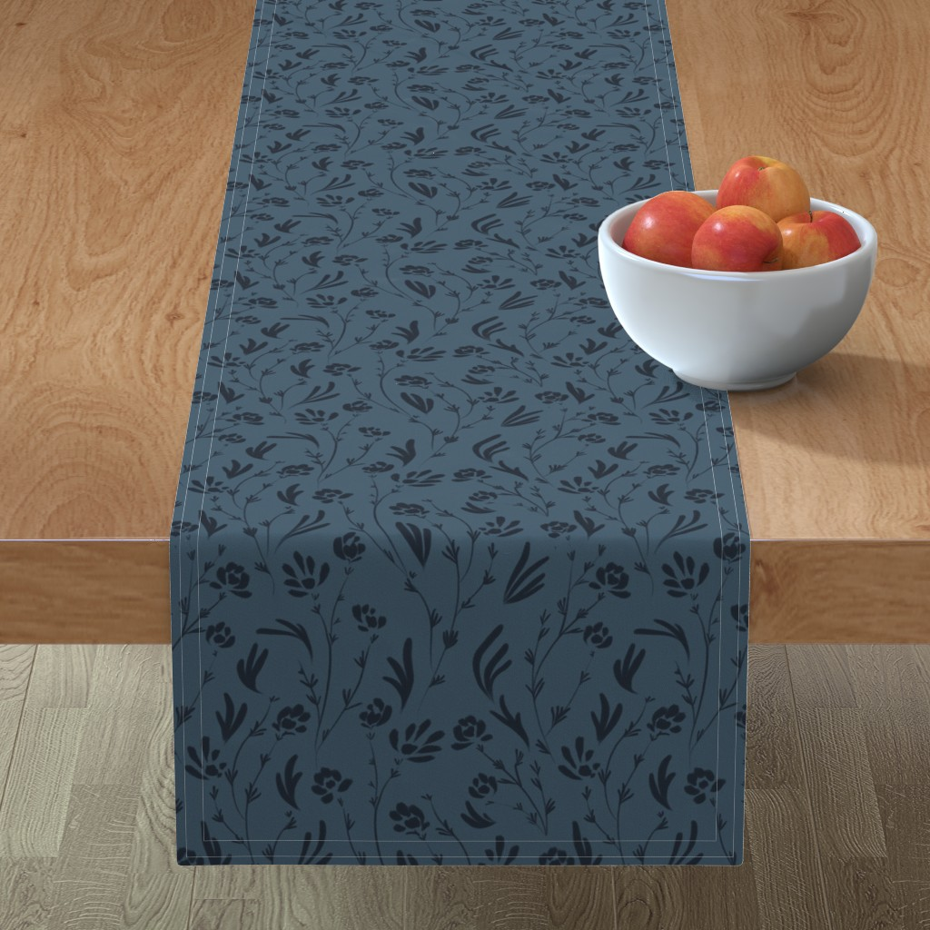 Minorca Table Runner featuring Wild Cosmos, Deep Denim Blue by karina_love