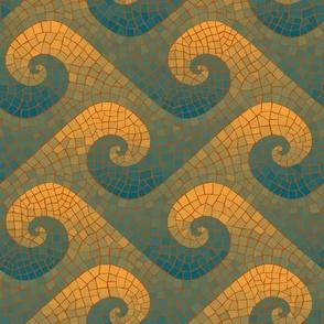 Portuguese wave mosaic - lagoon teal, ocean blue, saffron