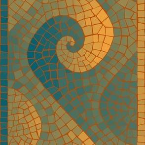 Portuguese wave border - lagoon teal, ocean blue, saffron
