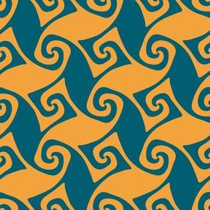 Portuguese trellis - lagoon teal and saffron yellow