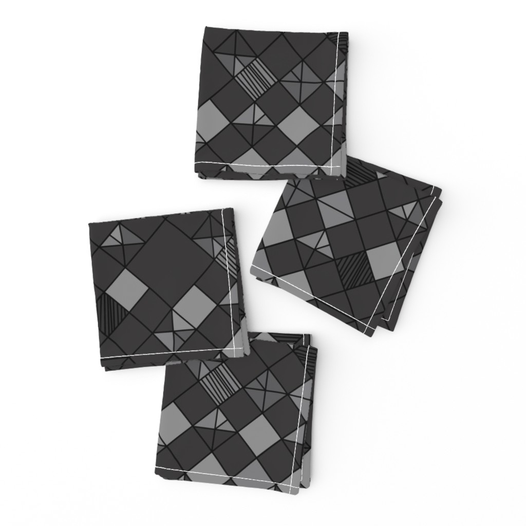 Frizzle Cocktail Napkins featuring square grid in charcoal by eleventy-five