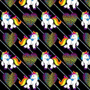 Glitter Stripe Rainbow Unicorns Large
